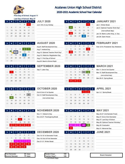 Cms School Calendar 2020-21 2020 2021 Academic Calendar Approved