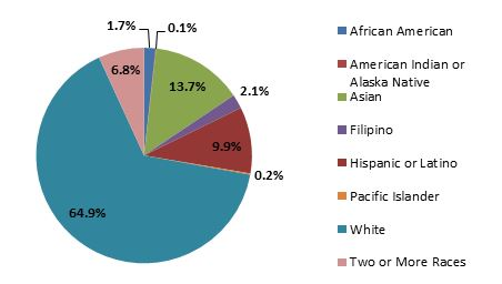 Graph:64.9%white;13.7%Asian;9.9%Hispanic/Latino;6.8%TwoOrMoreRaces;2.1%Filipino;1.7%AfricanAmerican;0.1%AmerIndian;0.2%PacIs