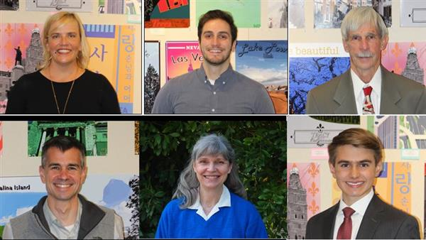 Governing Board Members: Connelly, Grove, Hockett, Severson, Kendzierski, Nibley (student)